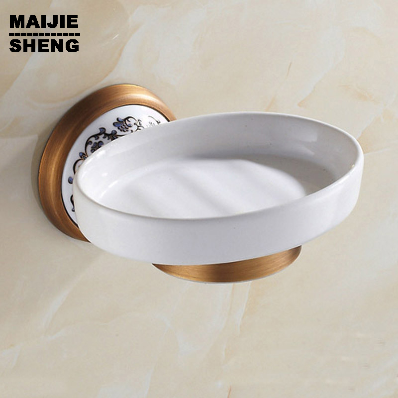 The Best Soap Basket Soap Dish Soap Holder Bathroom Accessories, Furniture Modern Bathroom Antique Porcelain Bronze Finish Brass Sale Price