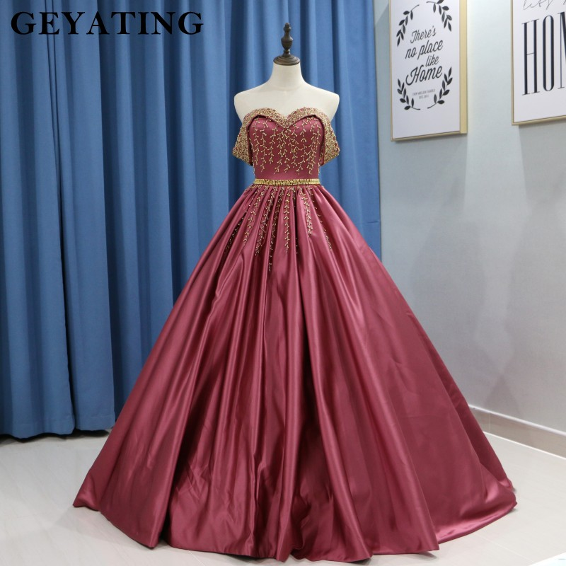 Red Ball Gown Wedding Dresses: Elegant Off Shoulder Brick Red Ball Gown Wedding Dress