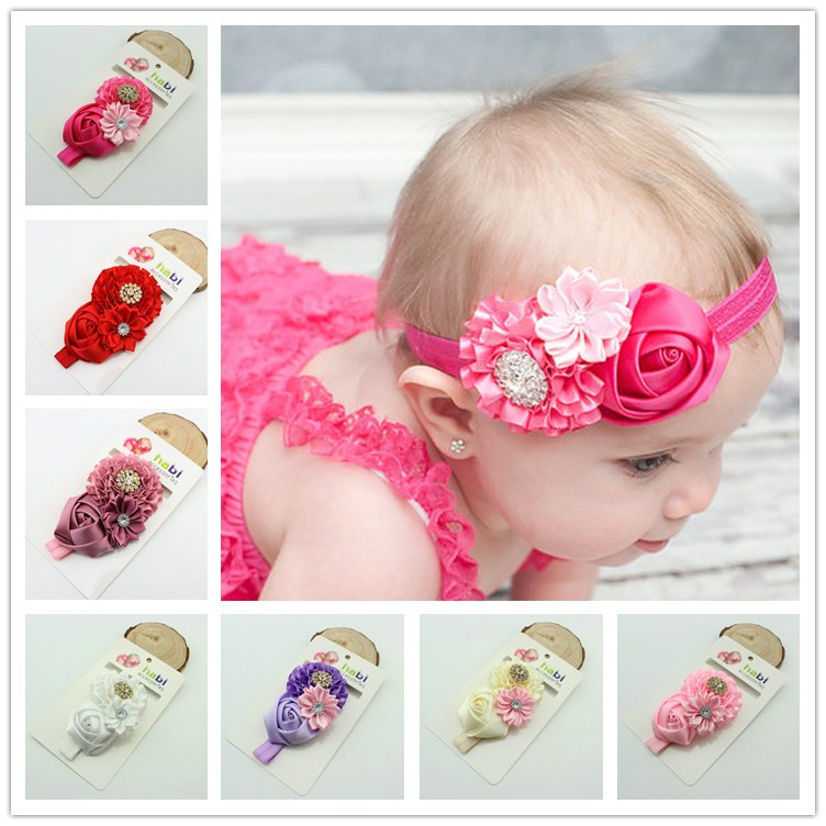 1piece kids Baby Girl  Rose Flower elastic headband Hair Ribbon Baby head band children hair accessories headband baby girl hair bows newborn elastic hair band kids cute children hair accessories ribbon head band with dot 2pcs set