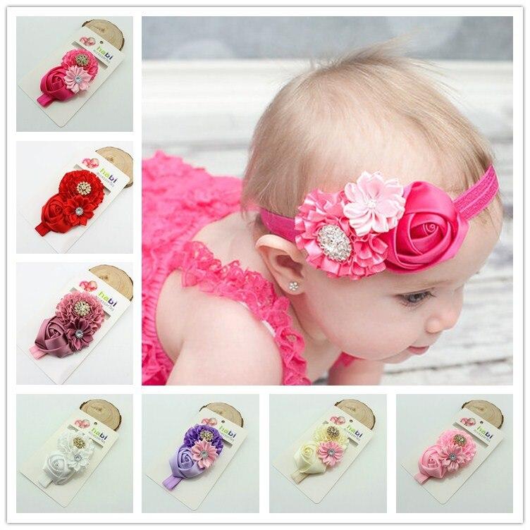 1piece kids Baby Girl Rose Flower elastic headband s