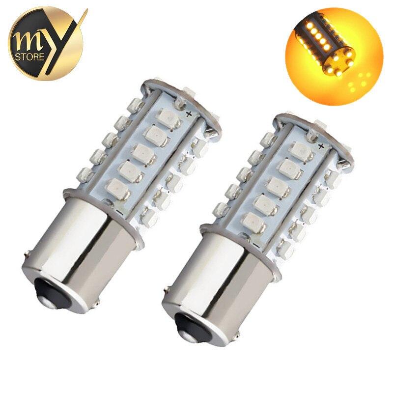 2pcs1156 <font><b>BAU15S</b></font> <font><b>py21w</b></font> <font><b>led</b></font> yellow light car 30SMD front <font><b>led</b></font> lights cars <font><b>bau15s</b></font> Car Light Bulb Lamp Reverse Lights 12V
