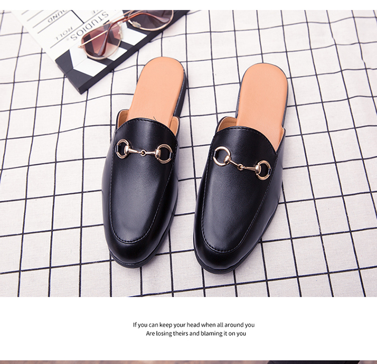 Men Backless dress leather slipper shoes Men unisex Bee prints Horseshoe buckle Casual business wedding Leather shoes women 16