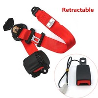 Universal Red Retractable Auto Seat 3Point Safety Belt Vehicle Lap Diagonal Belt