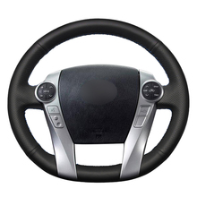 Hand sewing Black PU Artificial Leather Car Steering Wheel Covers Wrap for Toyota Prius 30(XW30) 2009 2015 Prius C(US)2012 2017