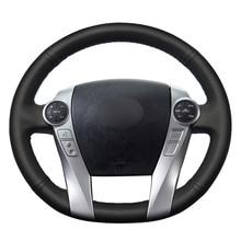 Mão costura preto plutônio couro artificial volante do carro cobre envoltório para toyota prius 30 (xw30) 2009 2015 prius c (eua) 2012 2017