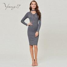 Young17 трикотажное платье серый свитер пуловер Женский пикантные вечерние плотная на шнуровке Элегантные Осенние свитер для женщин облегающее трикотажное платье