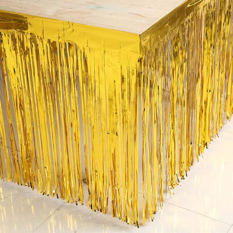 Metallic Fringe Table Skirt Gold Silver Foil Tinsel