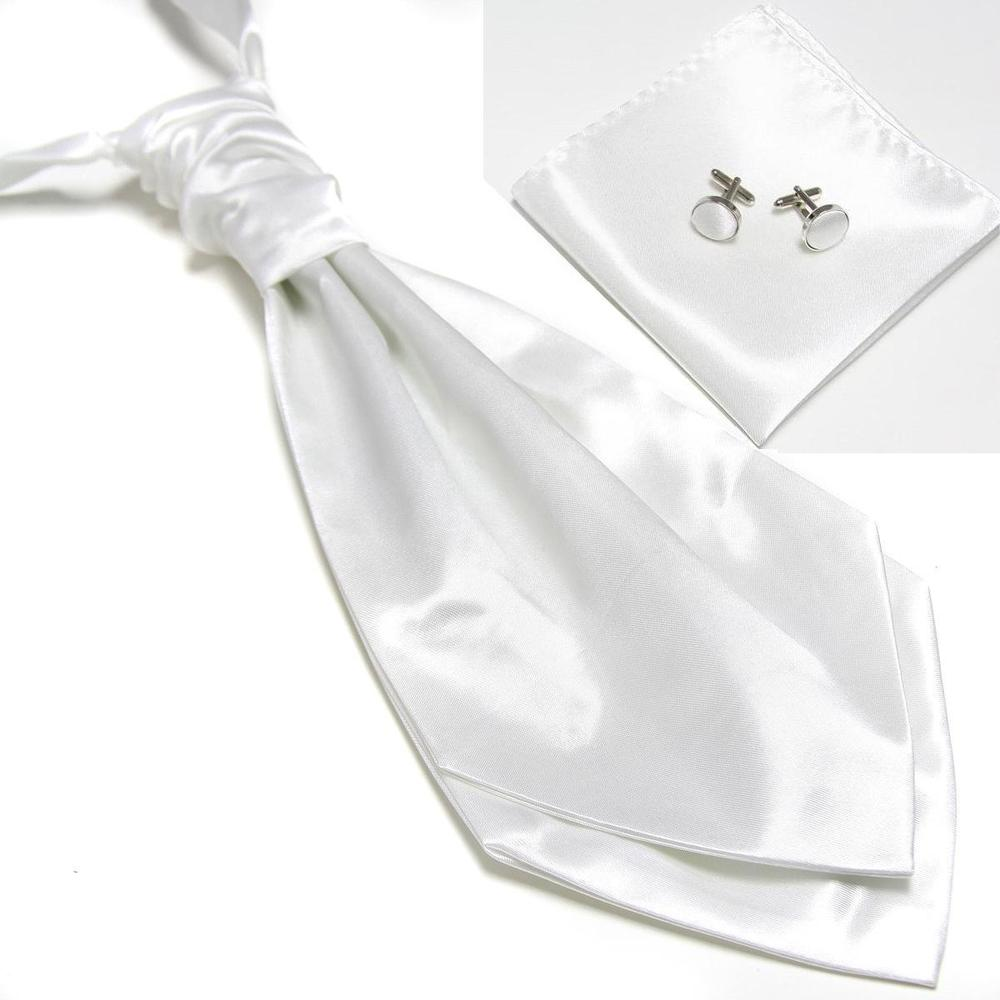 2019 New Solid Mens Neck Tie Set For Man Party Necktie White Business Set Dress Cravate Ties Sets Cufflinks Hanky Pocket Square