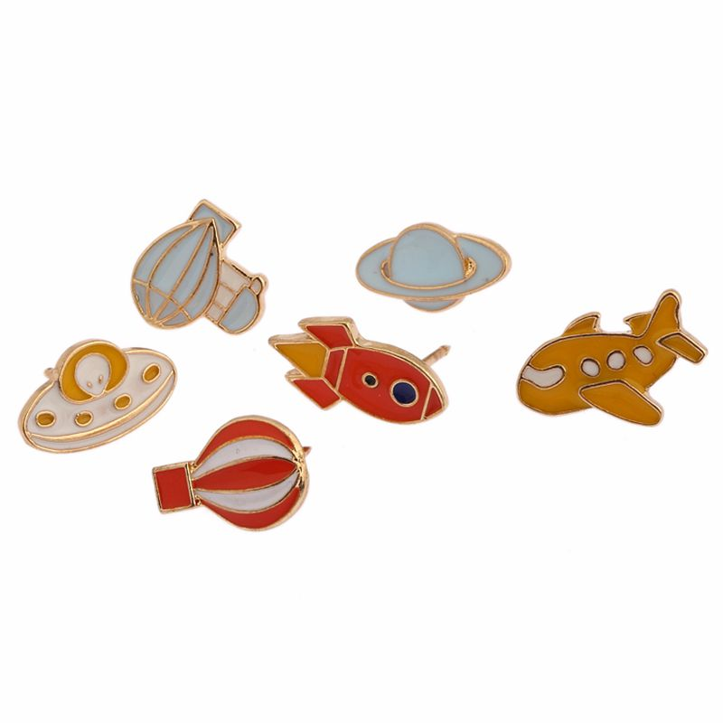 Free Shipping Cartoon Cute Hot Air balloon Rocket Airplane Brooch Pins Badge Jeans Clothes Decoration Jewelry Women Wholesale
