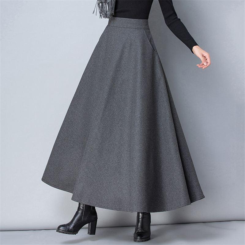 Womens Maxi Skirt Summer Solid High Waist A-Line Ankle Length Skirts