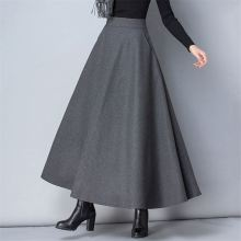 08f91e66445 luyaoskyen Winter Women Long Woolen Skirt High Waist Basic Wool Skirts  Female A-Line