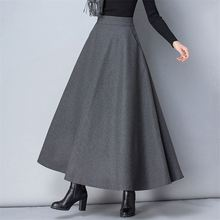 luyaoskyen Winter Women Long Woolen Skirt High Waist Basic Wool Skirts Female A-Line