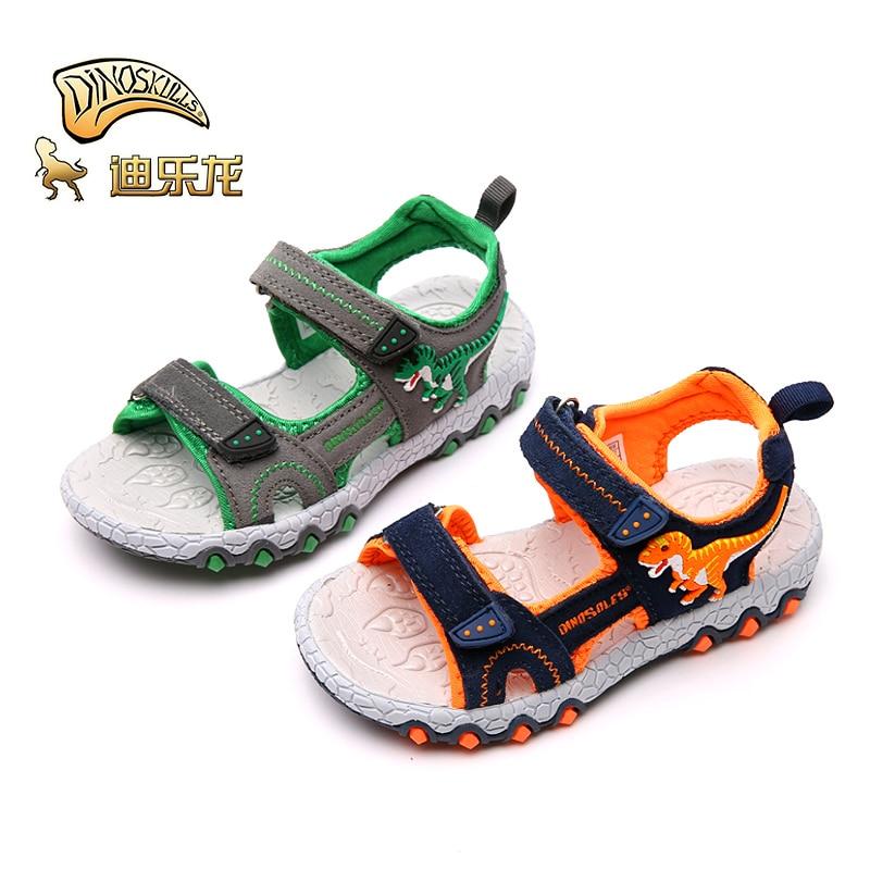 DINOSKULLS T-rex Sandals Boys Child Light Up Glowing 2019 Summer New LED Shoes Kids Open-Toe Beach Sandals Dinosaur Shoes #27-32