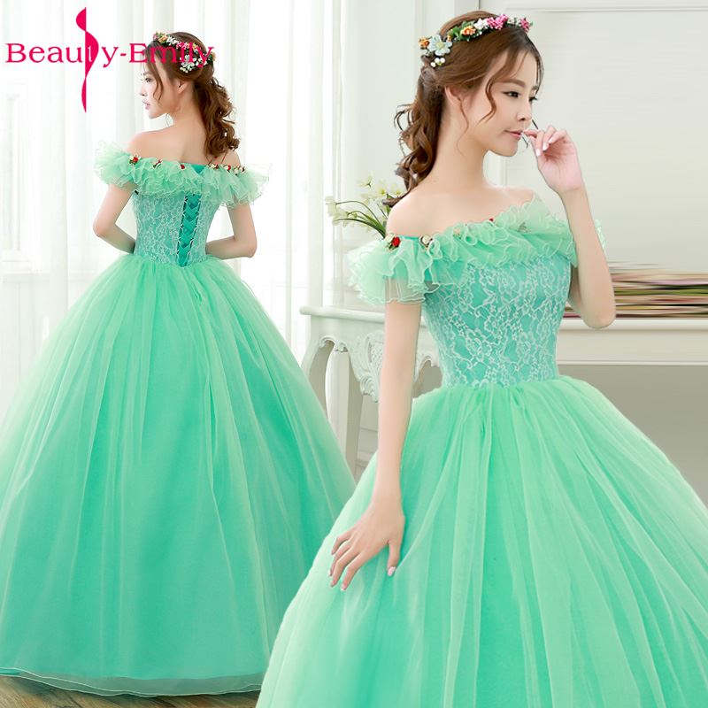 Beauty Emily Mint Green Ball Gwon Boat Neck Lace Up Quinceanera Dresses Formal Party Prom Dresses