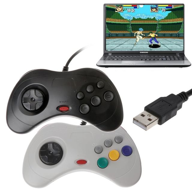 USB קלאסי Gamepad בקר Wired משחק מחשב בקר Joypad עבור Sega שבתאי PC עבור מחשב נייד מחברת