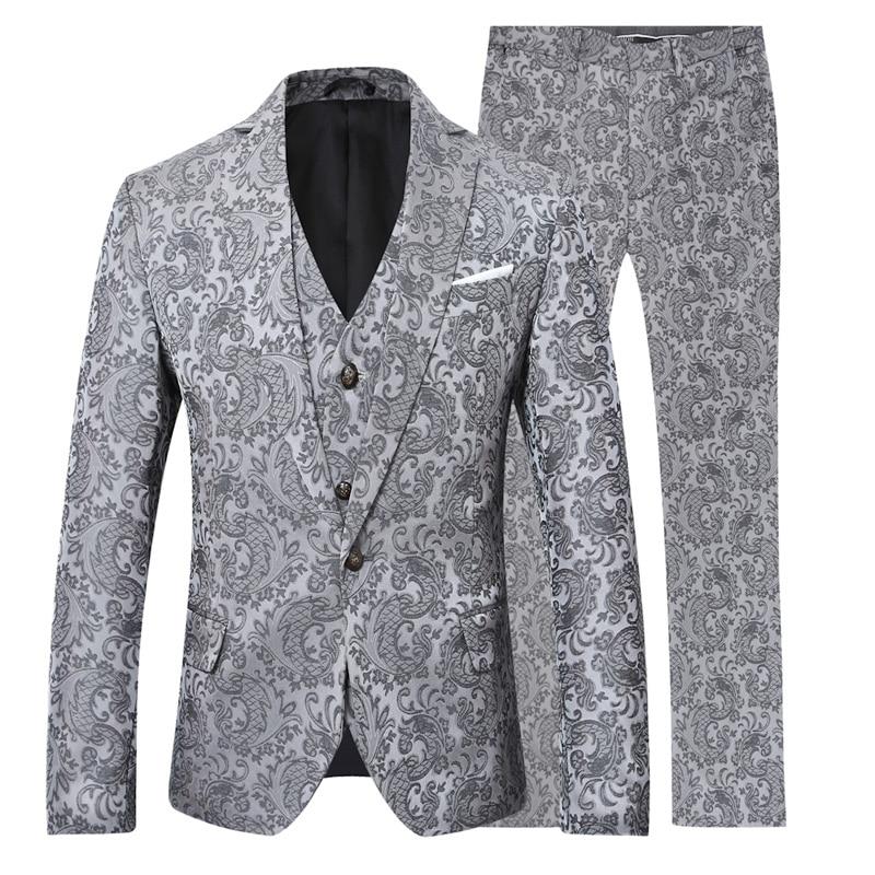 YFFUSHI 2018 Brand Men Suit 3 Pieces Luxury Blue Jacquard Tuxedo - Herrkläder - Foto 6