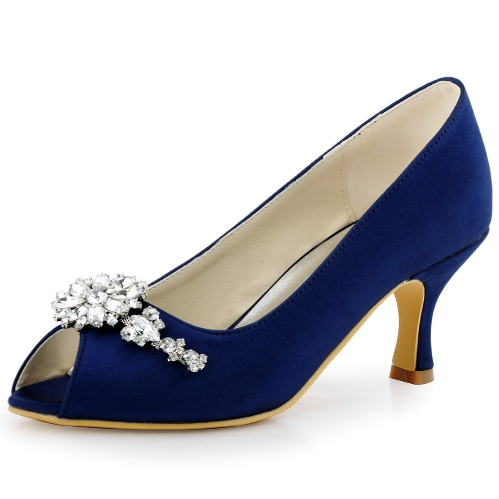 Navy Blue Peep Toe Women Evening Party Prom Mid Heels Pumps Clip Buckle Satin Bride Bridesmaids Wedding Bridal Shoes HP1541 Pink women white high heel peep toe platform lace pumps bride bridesmaids prom evening party wedding bridal shoes ep11084 black ivory