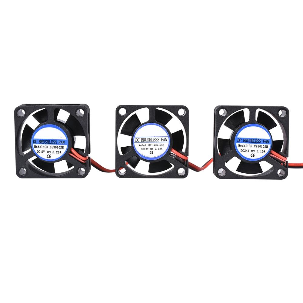 Детали для 3D-принтера, вентилятор 3010, 2 контакта, 30 мм, 30x30x10 мм, 3 см, мини вентилятор охлаждения графической карты, 5 В/12 В/24 В постоянного тока, ...