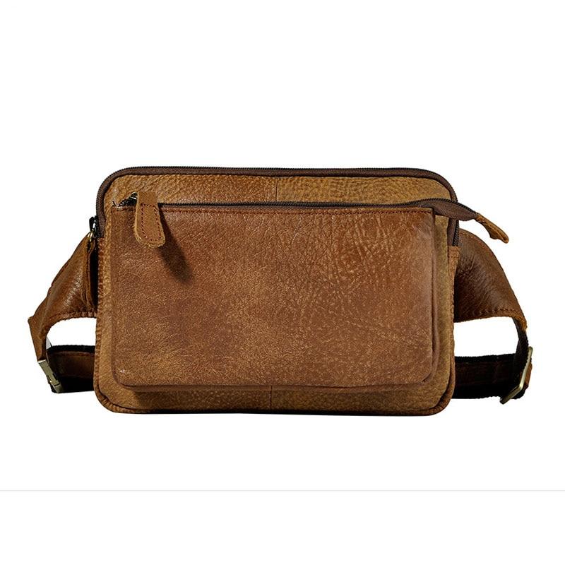 New Men Genuine Leather Cowhide Vintage Messenger Shoulder Sling Chest Bag Belt Hip Bum Pouch Fanny Pack Waist Purse Bag