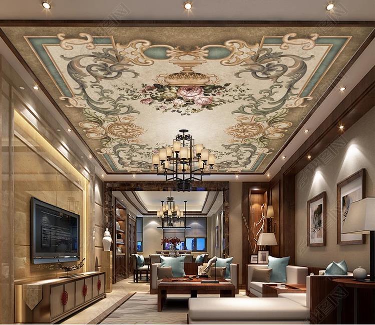 Custom 3d Ceiling Artistic Classical Flower Bedroom Living