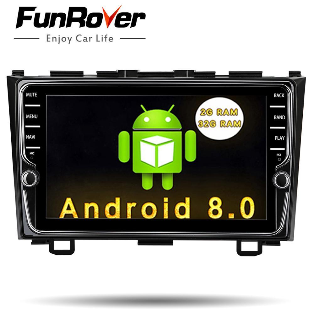 Funrover 8'' IPS Android 8.0 2 din Car DVD multimedia system stereo radio GPS for Honda CRV CR-V 2006 2007 2008 2009 2010 2011 цена