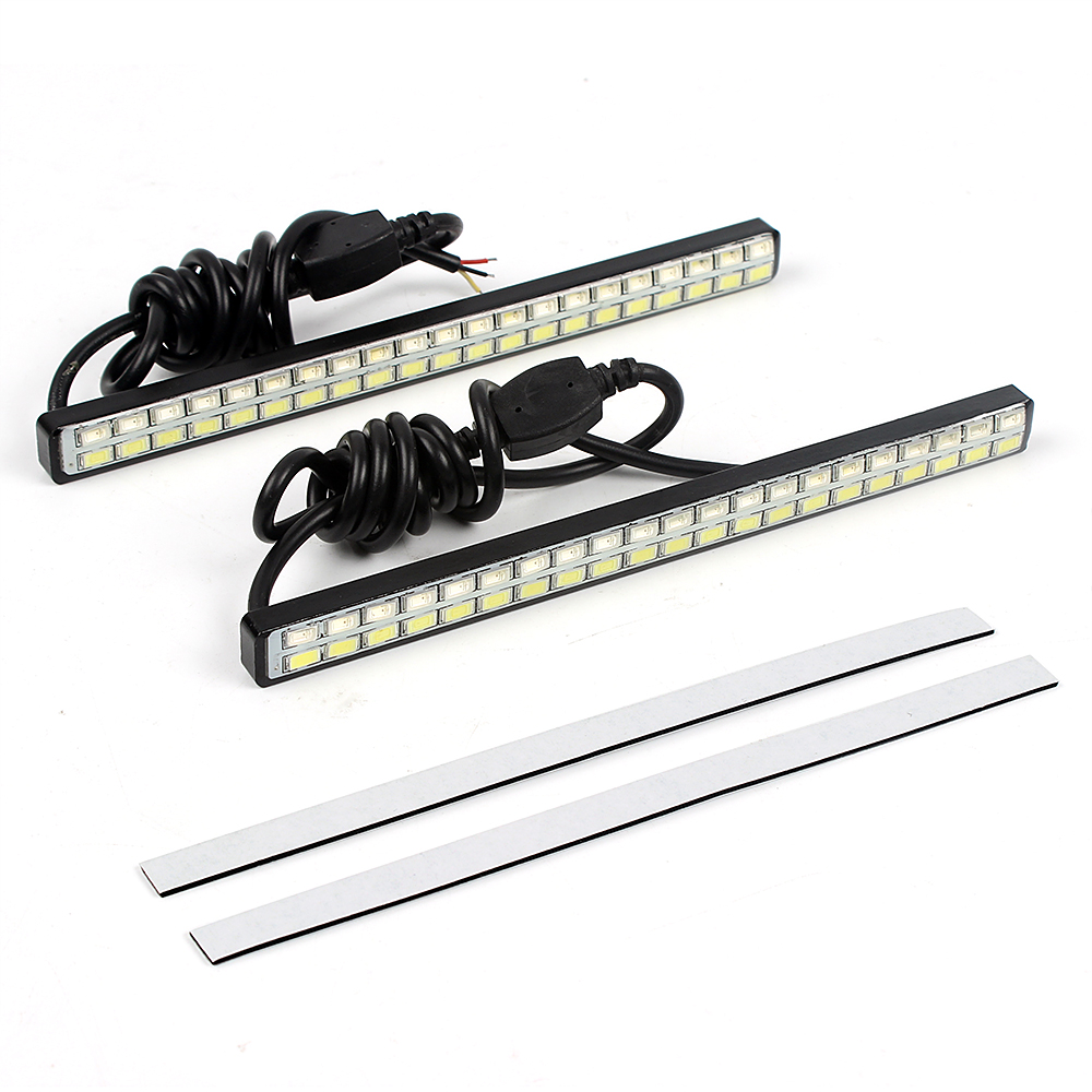 1 Pair Waterproof Car LED Daytime Running Lights Turn Signal Indicator Light DRL Car-styling White & Amber 42 LED Chips 1 pair car led lights 12 24v drl head lights 8w turn light strip