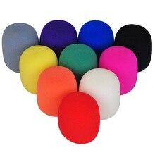 Zerosky 10Pcs רב צבע כף יד שלב כדור צורת מיקרופון שמשות קצף מיקרופון כיסוי קריוקי DJ 3.7x7cm גבוהה באיכות