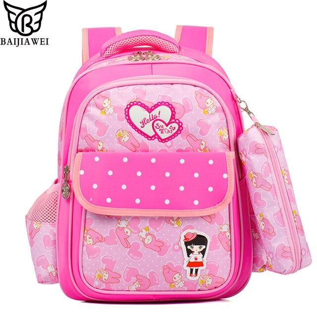60d7547b083f BAIJIAWEI New Fashion Children s Backpack + Pencil Bag Girls Cute Sweet Princess  Backpack Kids Primary School Bags