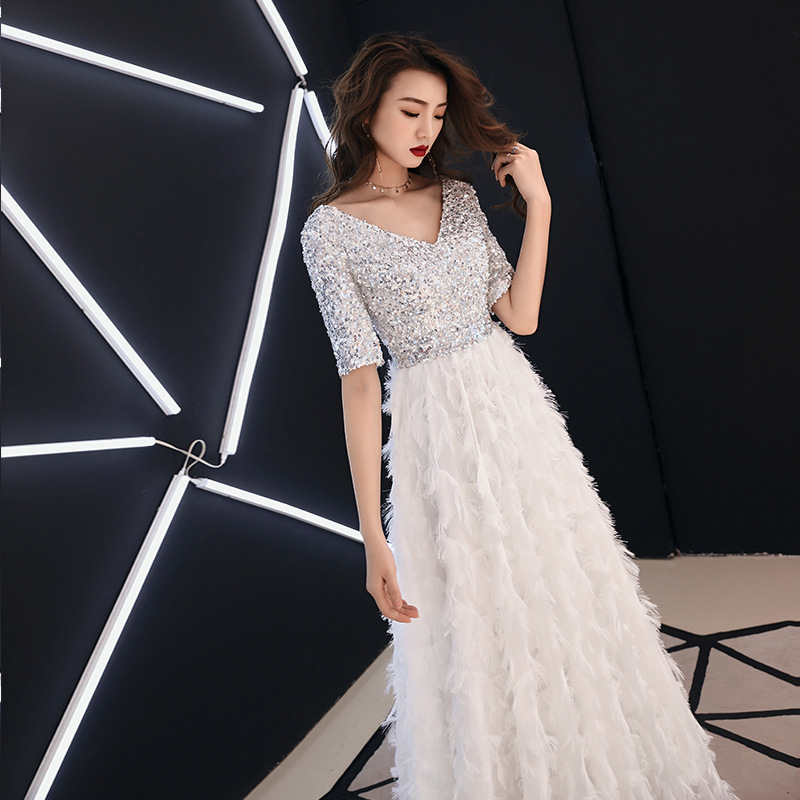 Sequined   Evening     Dress   2019 New Fashion Short Sleeve Long Formal Prom   Dresses   White V-neck Elegant Tassel A-line Party Gown E031