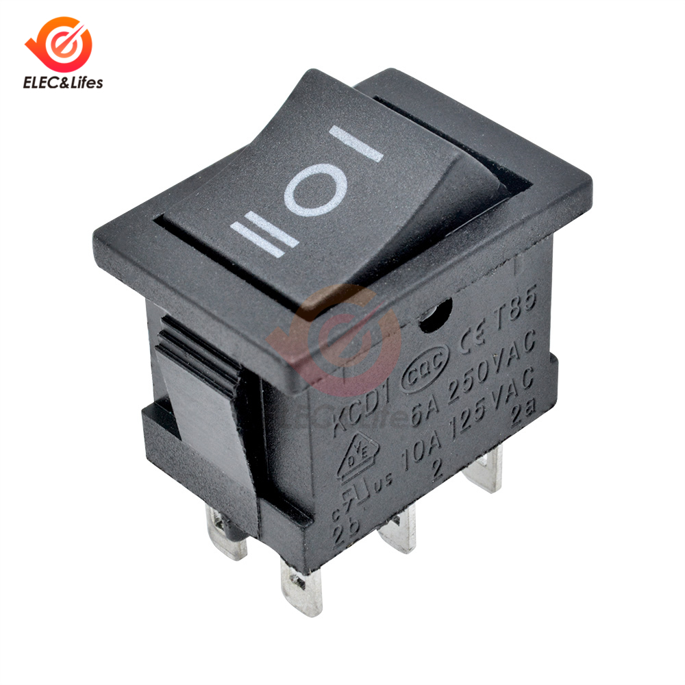 100 Pcs x 4 Pin On-Off 2 Position DPST Boat Rocker Switches 10A//125V 6A//250V AC