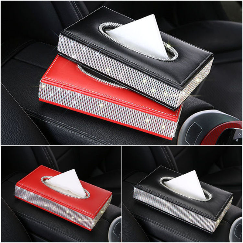 Nile Crystal Diamond Leather Car Tissue Box Holder Rhinestone Auto Armrest Box Block Type Paper Towel Case Covers Car Organizer