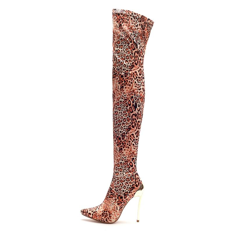 Sexy Más Rodilla Leopardo Largas Stilettos Kcenid Mujer Nuevo Blue Botas La Invierno Oro Tacones brown Sobre Altos De Manera Estiramiento Zapatos wg0Atqd