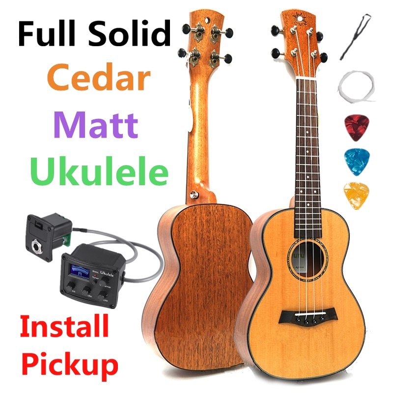 Ukulélé 23 pouces complet solide Concert cèdre acajou mat Mini guitare acoustique électrique 4 cordes Ukelele Guitarra installer pick-up