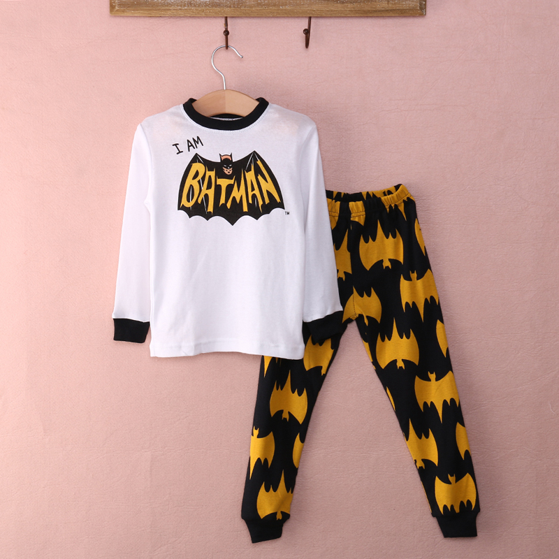 Boy Cotton Nightwear Mønster Loungewear Barn Tegneserie Homewear Kids Batman Clothing Set Vår Høst Sleepwear