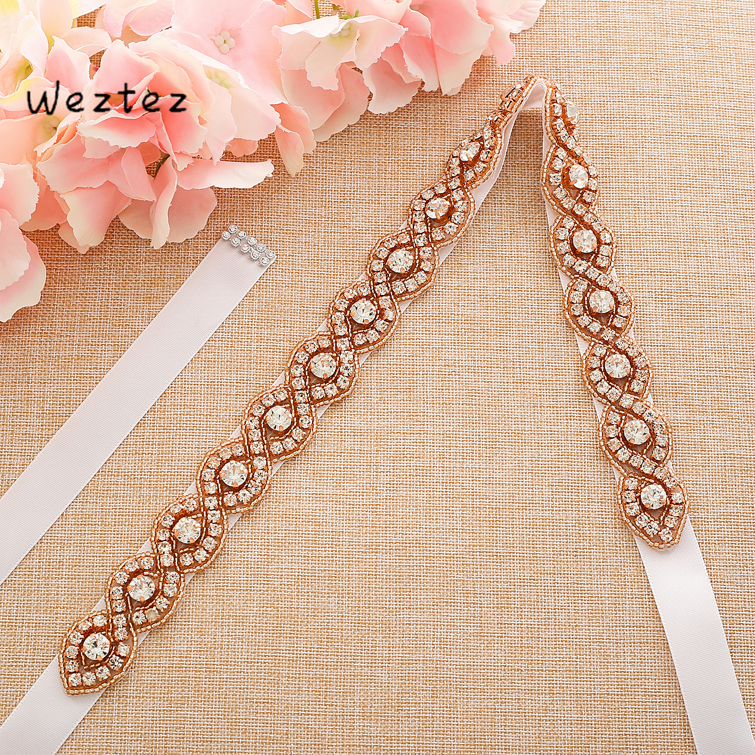 Rose Gold Crystal Bridal Sash Diamond Bridal Belt Rhinestones Wedding Dress Belt  For Women SD108RG