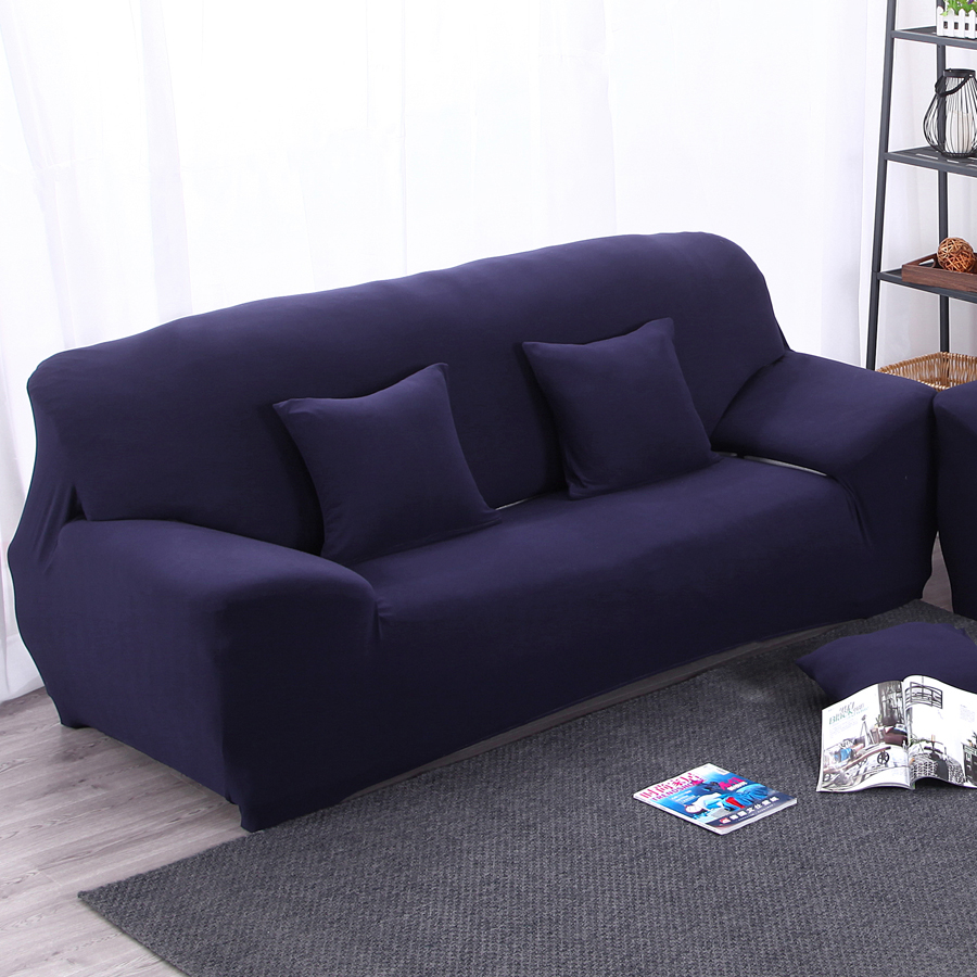 Elastic Sofa Cover Universal Wrap The Entire Slipcover Chair Corner Dark Blue Navy Solid Color