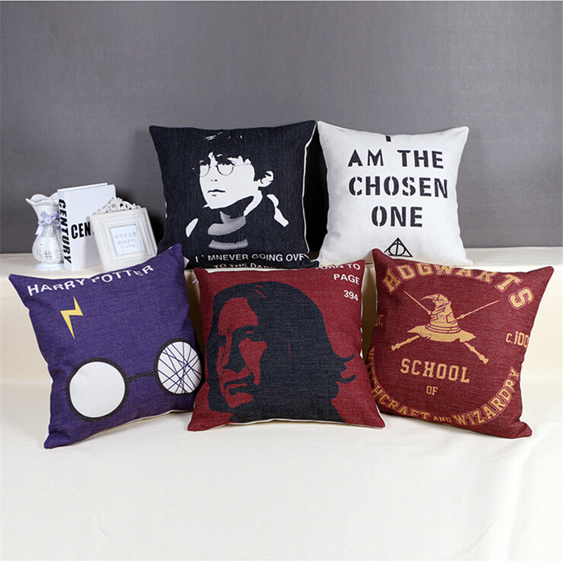 Throw Pillow On Chair : Cotton Linen Harry Potter Cushion Covers Square Throw Pillow Covers For Sofa Home Decor Car Seat ...