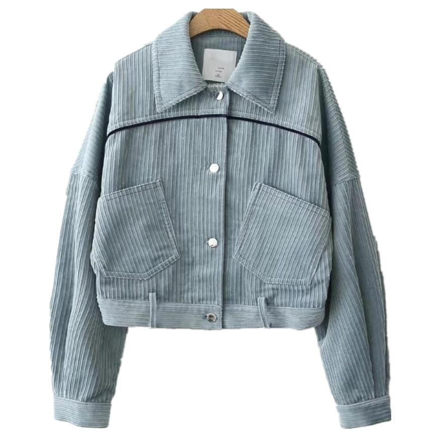 2018 Autumn Women Corduroy Jacket Coat Casual Outwear Pocket Button Long Sleeve Vintage Short Basic Jackets