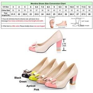 Image 5 - Meotina גבירותיי נעלי משאבות סתיו עגול הבוהן בסיסית משרד שמנמן גבוהה עקבים נעלי נשים קשת צבעים בוהקים נעליים בתוספת גודל 9 10