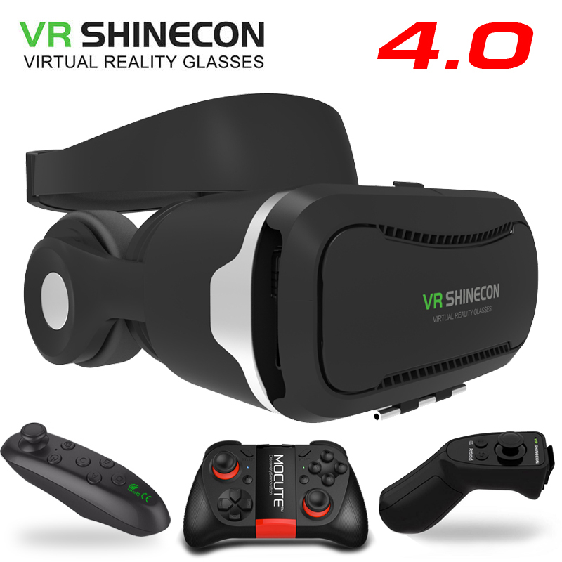 VR Shinecon 4.0 Stereo Virtual Reality <font><b>Smartphone</b></font> 3D Glasses Headset Google BOX + Headphone / Control <font><b>Button</b></font> for 3.5-5.5&#8242; Mobile
