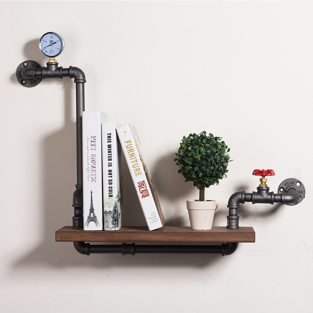 Loft Style Furniture Wall Hanging Iron Pipe Book Shelf Creative Art Display Shelves Bookcase Decorative Bookshelf FJ-ZN1Y-005A0
