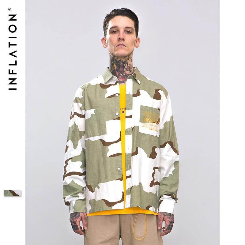 L'INFLAZIONE 2018 A/W Nuovo Arrivo Camouflage Campo Casual Camicia di Stile di Hip Hop Swag Turn down Colletto A Maniche Lunghe camicia Per Gli Uomini 8706 w