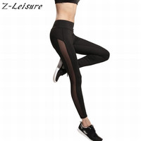 2016 sommer Neue Slim Laufhose Sexy Sport Leggings Frauen Mesh Fitness Black Workout Legging RL012