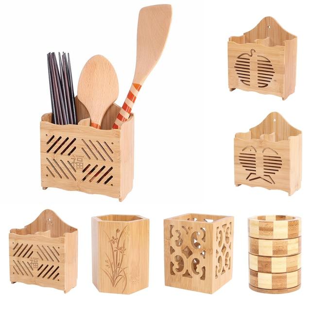 Ensemble dustensiles de cuisine en bois | Vintage avec support, couverts, caddie organisateur pour spatule, cuillère à mélanger, cuillère à salade, support de fourchette