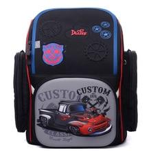 Famous Brand Delune Factory Kids Primary School Backpack Waterproof Orthopedic School Bag Children 3D Cars Schoolbag Boys Girl