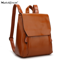 [Marte&Joven] Japanese Style Women Brown Leather PU Backpack Bag for College Simple Design Girls Casual Daypacks Travel Rucksack