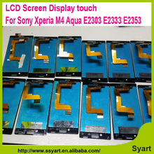 "100% Genuine Best quality 5.0"" New For Sony Xperia M4 Aqua E2303 E2333 E2353 Digitizer Touch Screen Assembly Black  LCD Display"