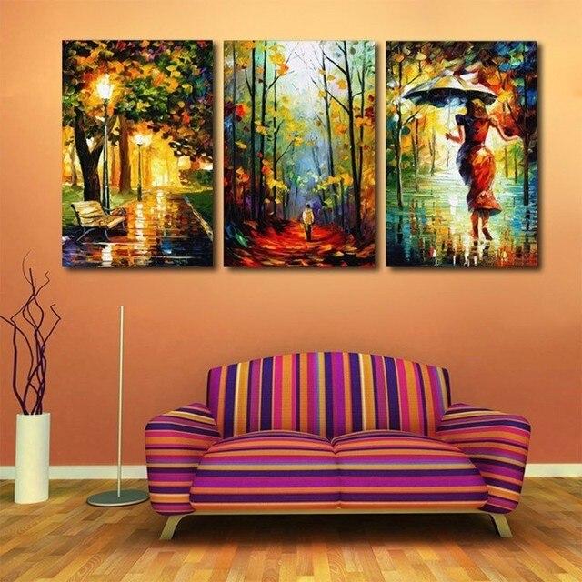 3 Panelen Gekleurde Regenachtige Nacht Posters HD Gedrukt Schilderen ...