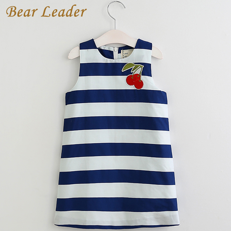 Bear Leader Girls Dress 2017 New Spring&Summer Baby Girls Dress Striped Pattern Cherry Embroidery Sleeveless Girls Clothes 3-8Y bear leader girls dress 2017 new spring