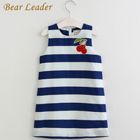 Bear Leader Girls Dress 2017 New Spring&Summer Baby Girls Dress Striped Pattern Cherry Embroidery Sleeveless Girls Clothes 3-8Y